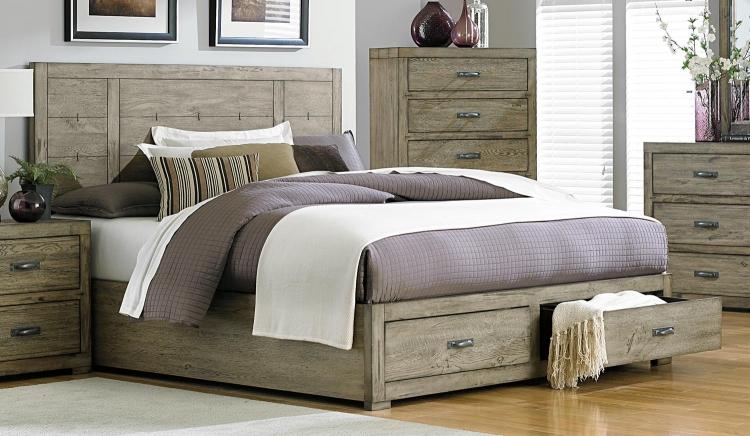 Abbott Platform Storage Bed - Driftwood