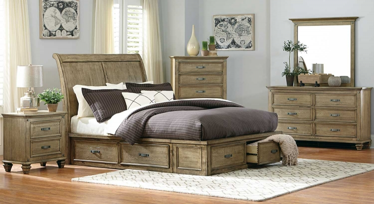 Sylvania Platform Bedroom Set - Driftwood