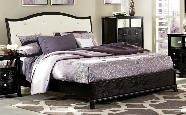 Jacqueline Upholstered Bed - Faux Alligator/Black