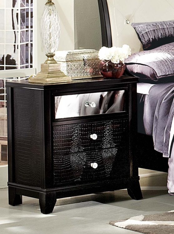Jacqueline Night Stand - Faux Alligator/Black