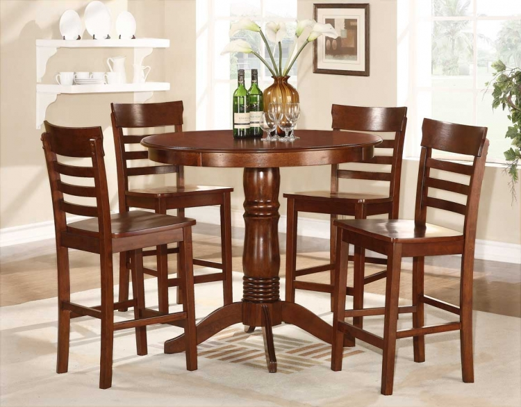 Wayland 5-Piece Counter Height Dining Set - Antique Oak