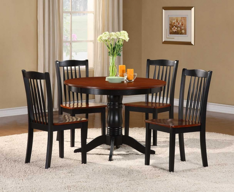 Andover 5-Piece Dining Set - Antique Oak and Black - Homelegance