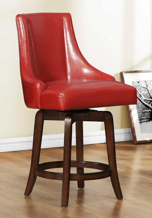 Annabelle Swivel Counter Height Chair - Red