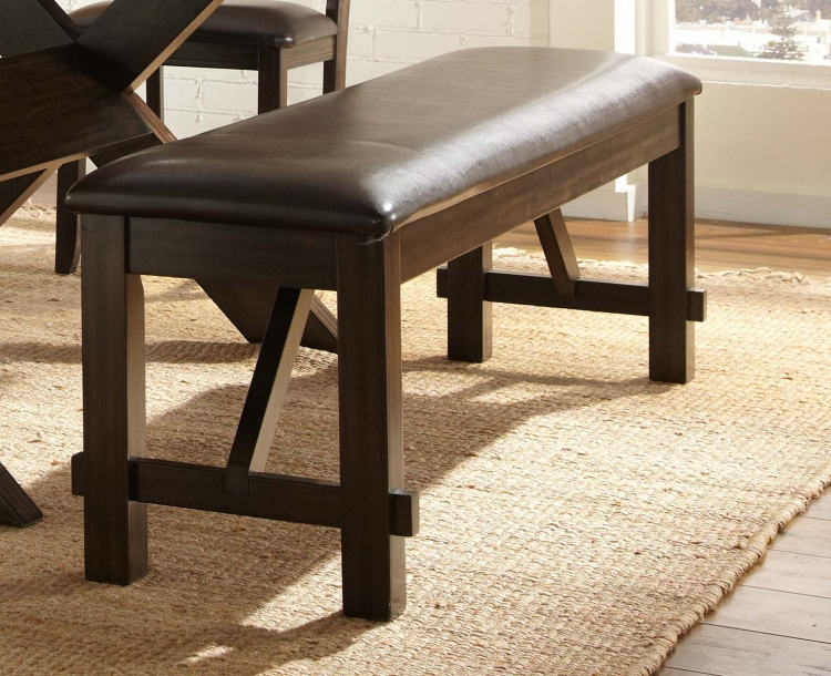 Roy Bench - Espresso - Dark Brown Bi-Cast Vinyl