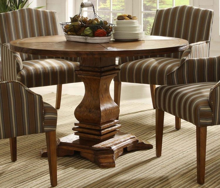 Euro Casual Round Pedestal Table - Rustic Oak