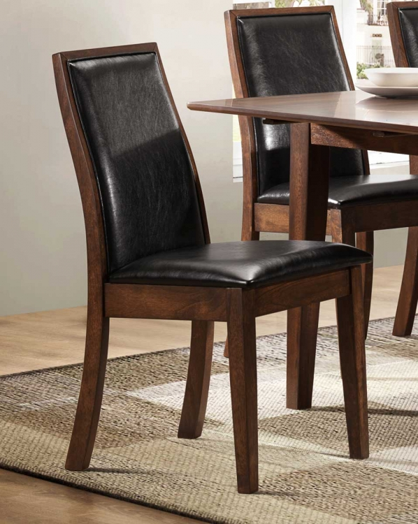 Cormac Side Chair - Dark Oak - Black Bi-Cast Vinyl