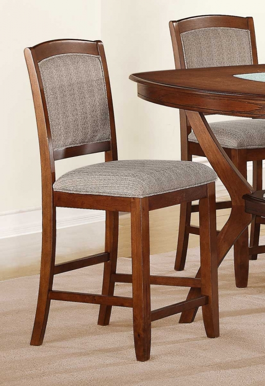 Kelley Counter Height Chair - Warm Walnut� - Beige Fabric - Homelegance
