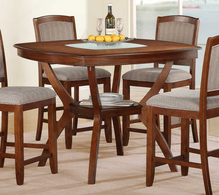 Kelly Counter Height Table - Warm Walnut - Crackle Glass Insert