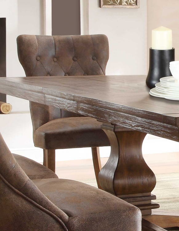 Marie Louise Side Chair - Rustic Oak Brown - Tufted Upholstery