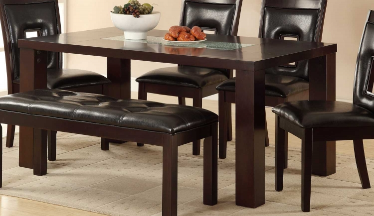Lee Dining Table - Espresso - Crackle Glass Insert