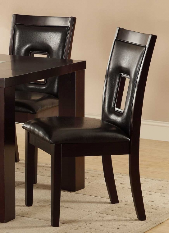 Lee Keyhole Side Chair - Espresso - Dark Brown Bi-Cast Vinyl - Homelegance