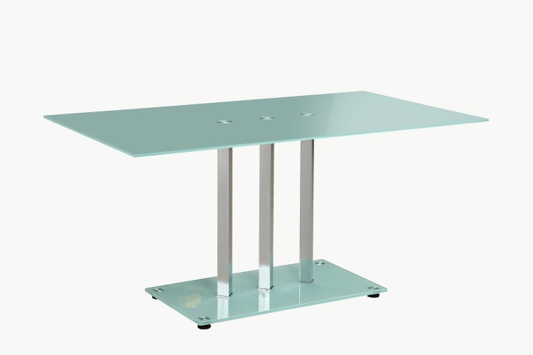 Goran Glass Top Dining Table - Glass/Chrome - Frosted Glass Top