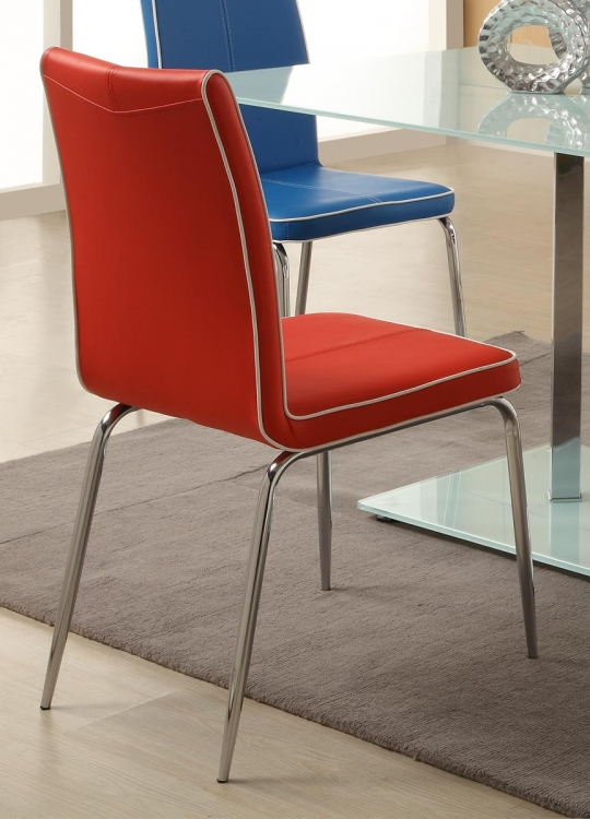 Goran Side Chair - Red - Bi-Cast Vinyl