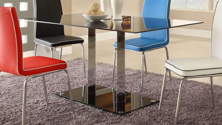 Goran Glass Top Dining Table - Black Glass/Chrome - Black Glass Top