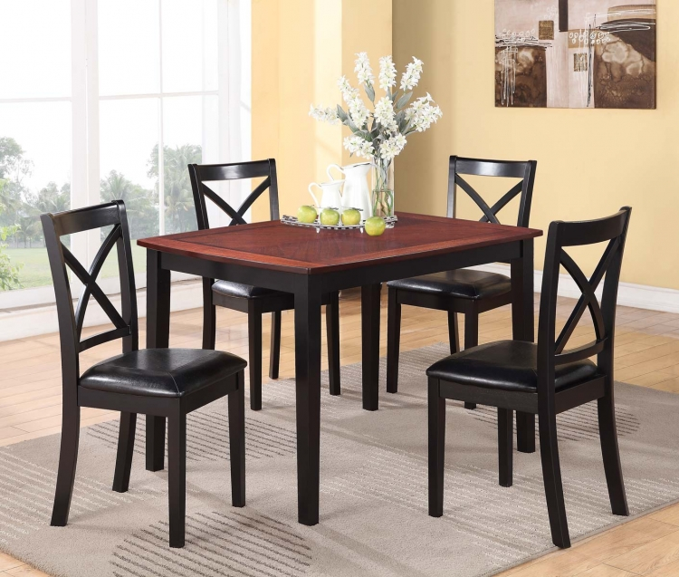 Tynan 5PC Dinette Set - Dark Oak/Black - Black Bi-Cast Vinyl