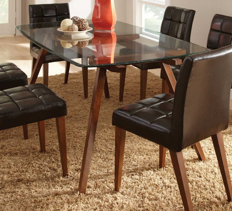 Ezra Glass Top Dining Table - Dark Brown