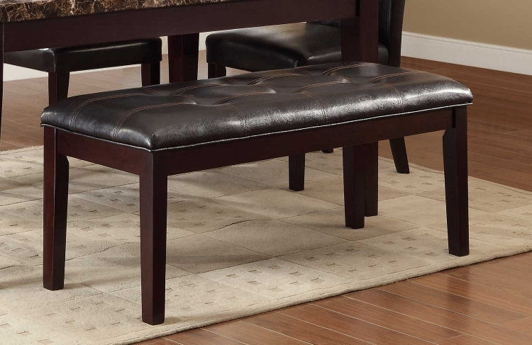Teague Bench - Espresso - Tufted Dark Brown Bi-Cast Vinyl