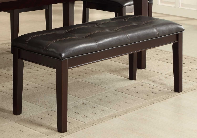 Thurston Bench - Espresso� - Tufted Dark Brown Bi-Cast Vinyl