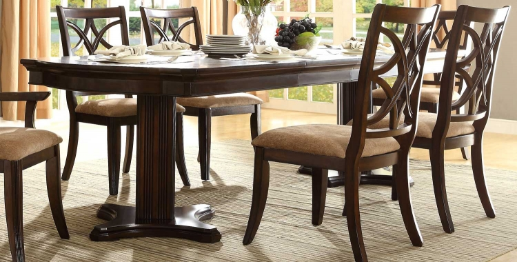 Keegan Double Pedestal Dining Table - Neutral Tone Fabric - Cherry
