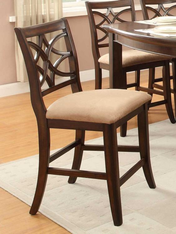 Keegan Counter Height Chair - Neutral Tone Fabric - Cherry
