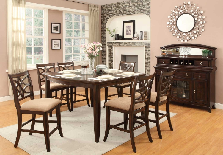 Keegan Counter Height Dining Set - Neutral Tone Fabric - Cherry