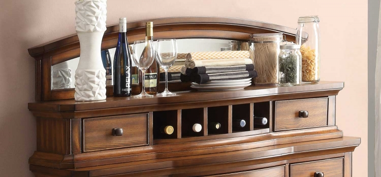 Homelegance Keegan II Server Mirrored Top - Oak