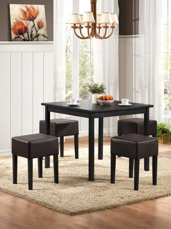 Merango 5PC Dinette Set - Black - Black Bi-Cast Vinyl