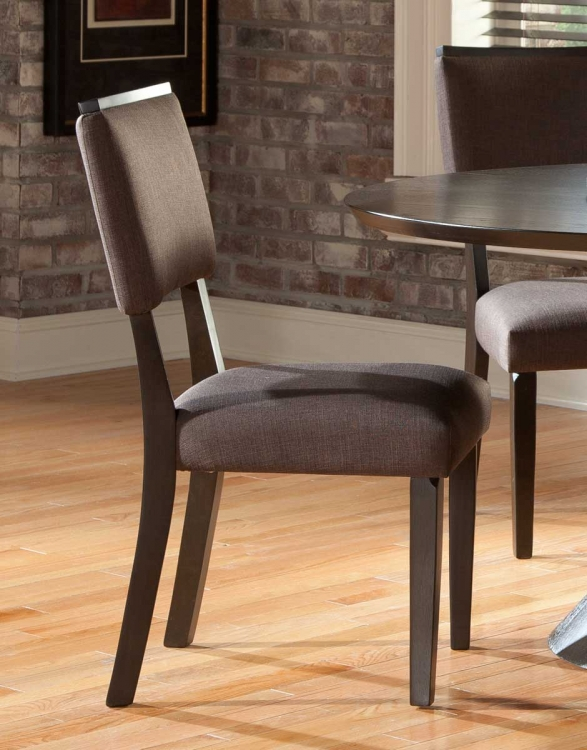 Lobelia Side Chair - Dark Walnut - Chocolate Linen Upholstery