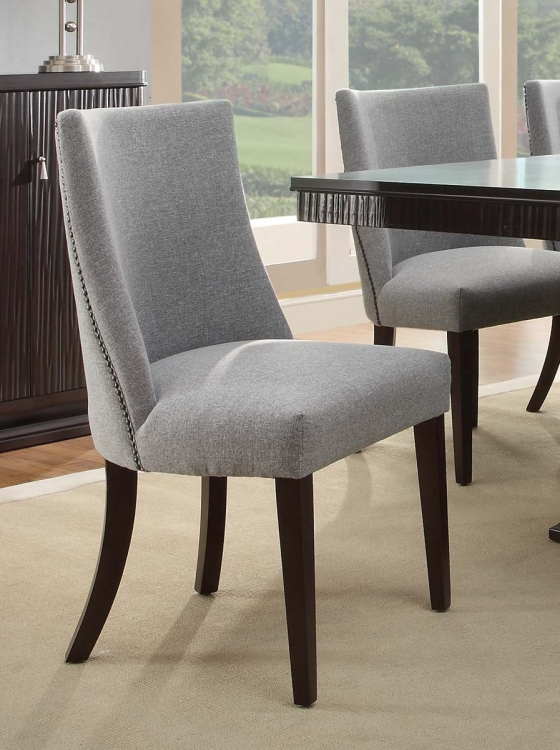 Chicago Side Chair - Espresso - Blue Grey Fabric