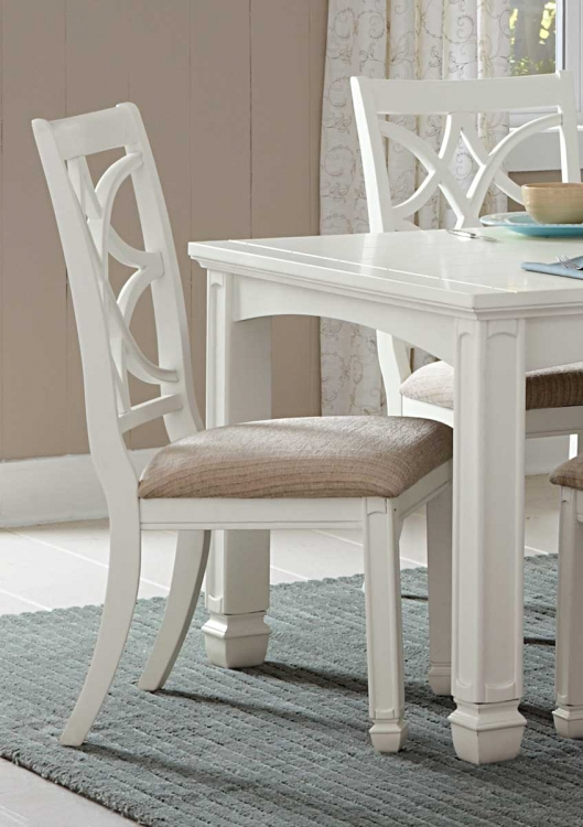 Kentucky Park Side Chair - White  - Beige Fabric