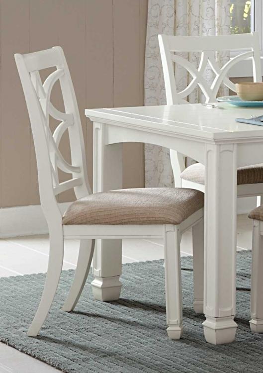 Kentucky Park Side Chair - White - Beige Fabric