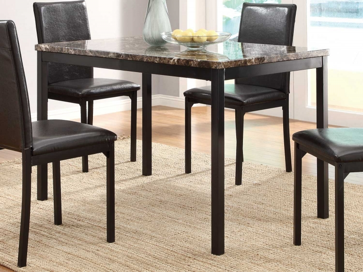 Tempe Dining Table - Black - Dark Brown Faux Marble