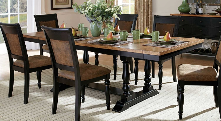 Grisoni Dining Table With Two End Leaves - Acacia/Distressed Black