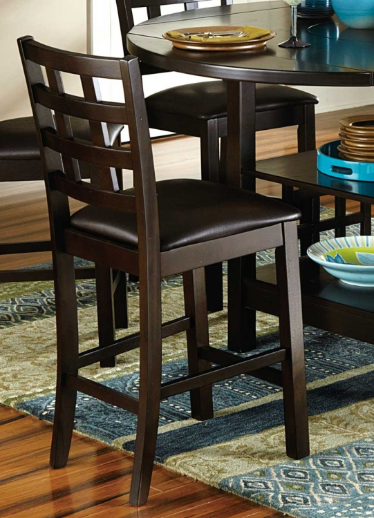 Glendine Counter Height Chair - Dark Brown - Dark Brown Bi-Cast Vinyl