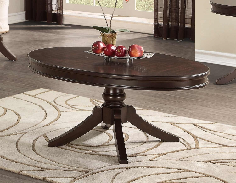 Marston Oval Cocktail/Coffee Table - Dark Cherry