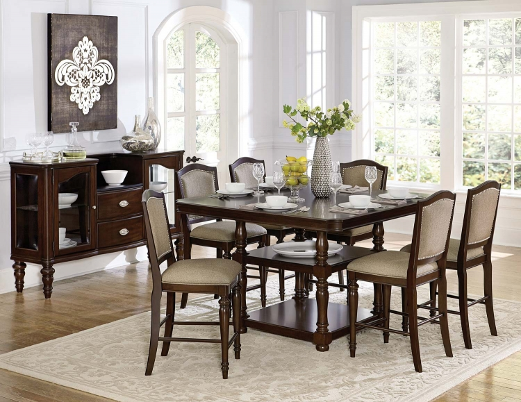 Marston Counter Height Dining Set - Dark Cherry