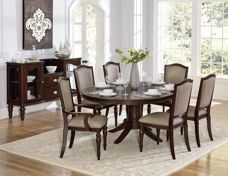 Marston Pedestal Dining Set - Dark Cherry