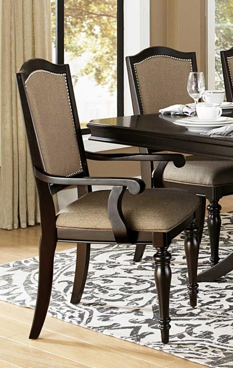 Marston Arm Chair - Neutral tone fabric - Dark Cherry