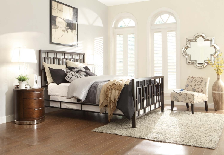 Zelda Brushed Brown Metal Bedroom Collection - Brushed Brown Metal/Warm Cherry
