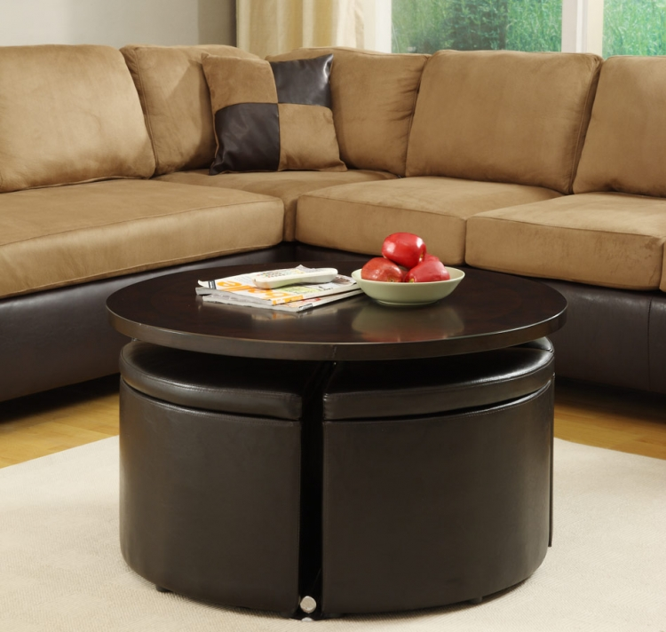 Rowley Gas Lift Table with 4 Pc Storage Ottomans - Homelegance