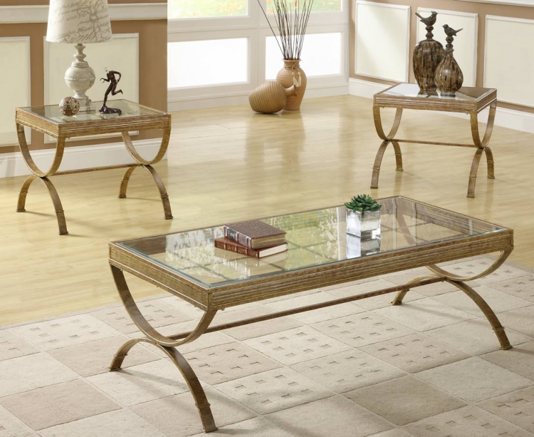 Claro 3-Piece Occassionals Table - Gold - Homelegance
