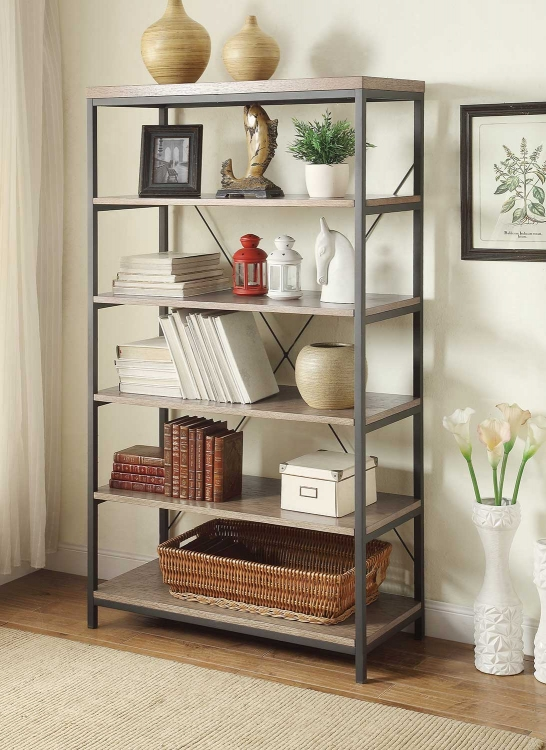 Daria 40in Bookcase - Weathered Wood Top with Metal Framing