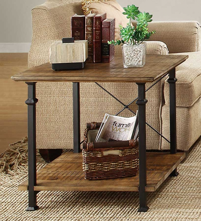 Factory End Table - Solid Top - Rustic Brown