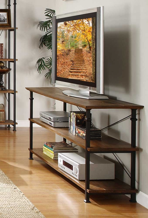 Factory Sofa Table - Solid Top - Rustic Brown