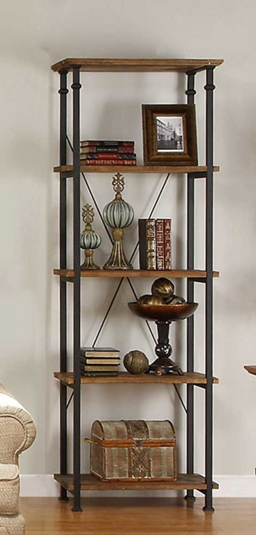 Factory Bookcase -Solid Wood Shelves - Rustic Brown - Homelegance