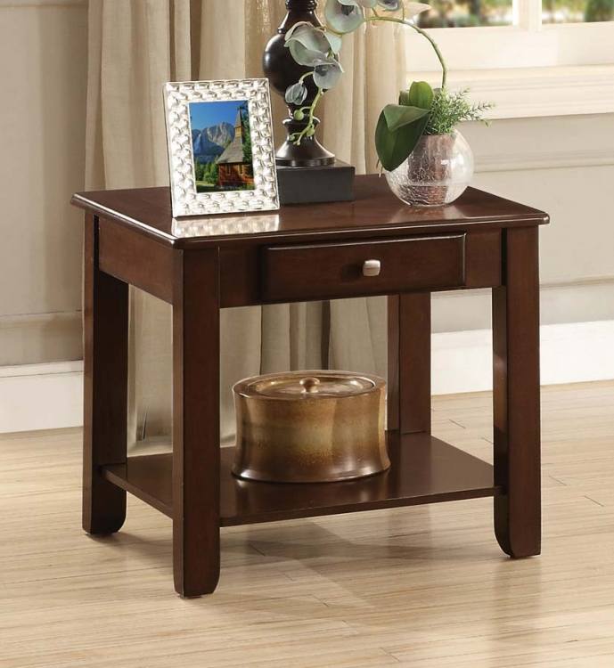 Ballwin End Table with Functional Drawer - Deep Cherry