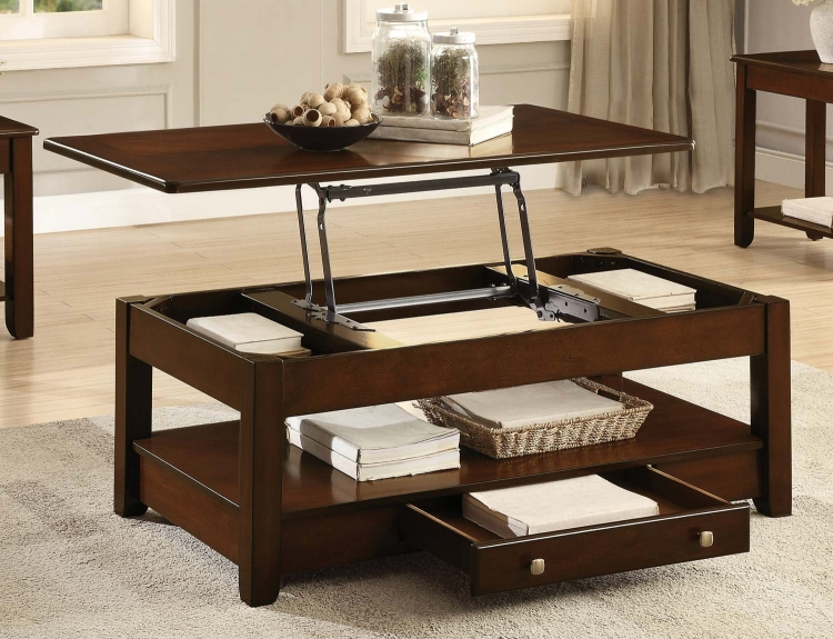 Ballwin Cocktail Table with Lift Top and Functional Drawer on Casters - Deep Cherry