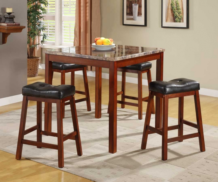 Achillea 5-Piece Counter Height Dining Set with Faux Marble
