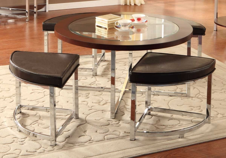 Maine Cocktail Table with 4 Ottomans - Homelegance