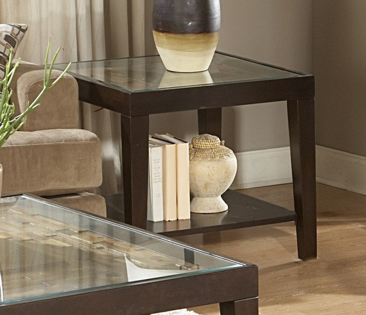 Vincent End Table with Glass Top - Homelegance